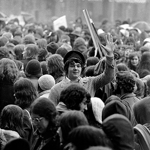 Photograph of student rally, Hull 1972.